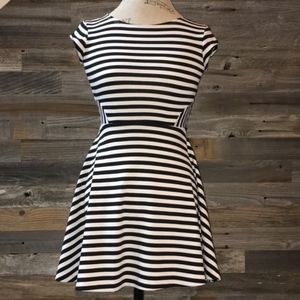 Aqua Black and White Striped Fit and Flare Dress M